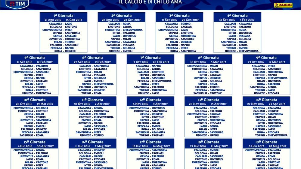 Calendario Serie Aa.Calendario Serie A 2016 2017 Date Genoa Sampdoria