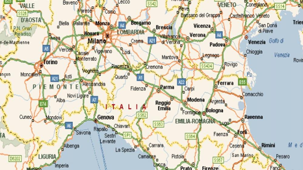 Cartina Geografica Centro Nord Italia.Nord Italia Mappa Stradale